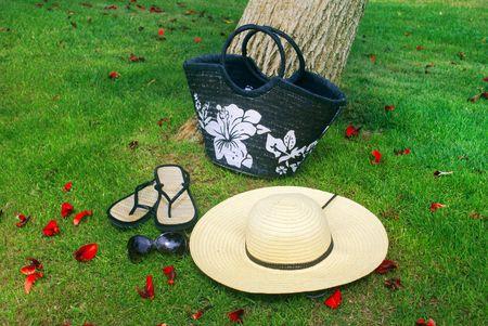 beachbag: Summer kit : Hat , bag , sunglasses and flip-flops