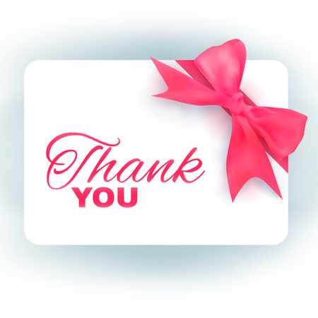 pink bow: Thank you card with realistic pink bow.