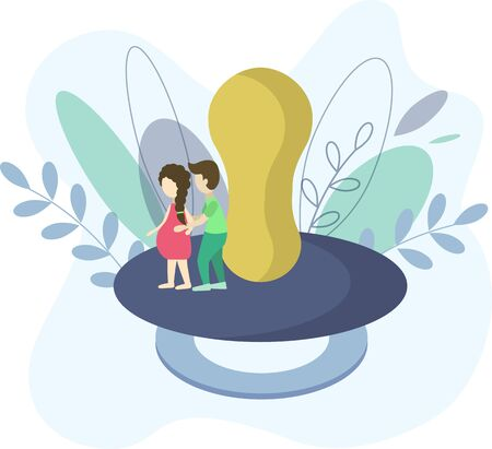 Pregnant woman with man. Waiting a child. Expectation. Expectation icon concept. Flat vector illustration.