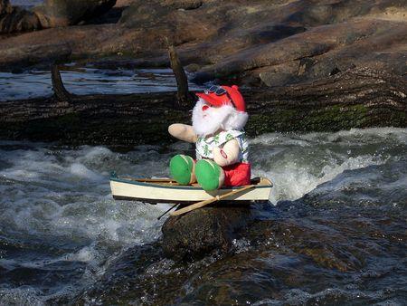 santa takes break from his rowing.