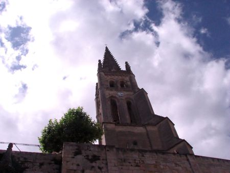 low angle view of the tower bell of the monolith church of Saint-Emilion  photo