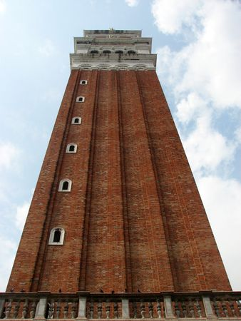 campanile: low angle view of the campanile in Venice Stock Photo