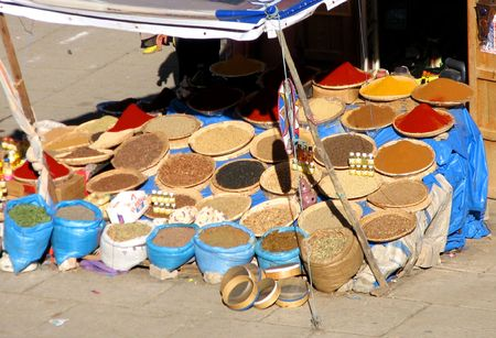marocco: colourful spices displayed in a market in Marocco Stock Photo