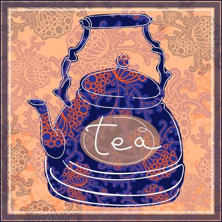 Floral designed tea pot . Tea time illustration illustration
