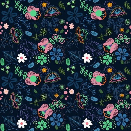 Abstract  flowers on dark  blue background photo