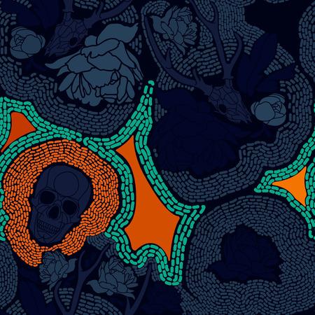 all saint day: Skull with floral ornament  Vector illustration Illustration