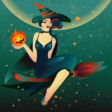 all saint day: Halloween witch on a broomstick