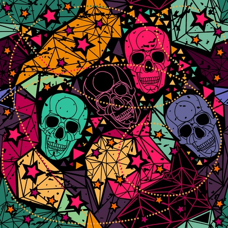Skull with floral geometric ornament. Vector