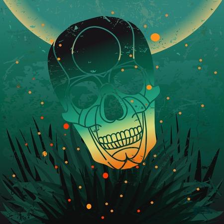 hoog gras: Vector halloween skull background. Stock Illustratie