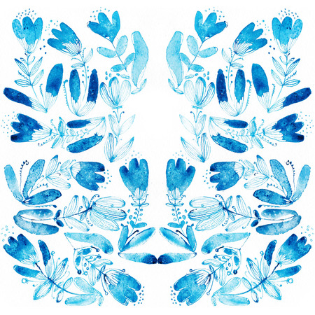 Blue watercolor flowers and grass edging. Watercolor illustration illustration