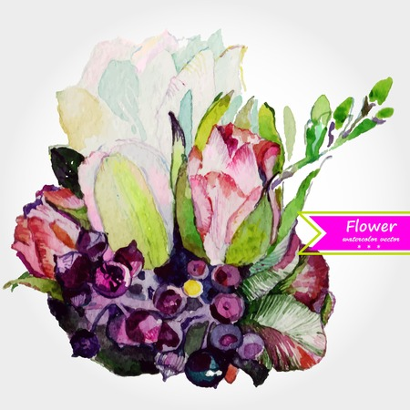 Abstract floral watercolor design with stylized violet flowers on white.