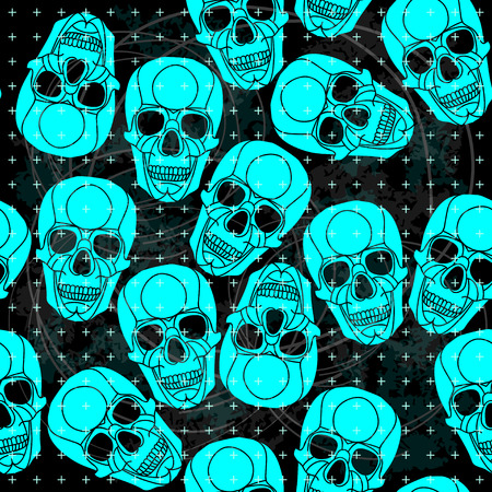 all saint day: Seamless pattern voodoo cartoon with different skull .