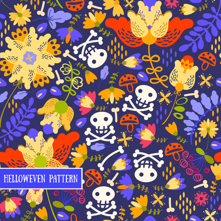 singular: Retro.Seamless pattern voodoo cartoon with different skull and flowers .