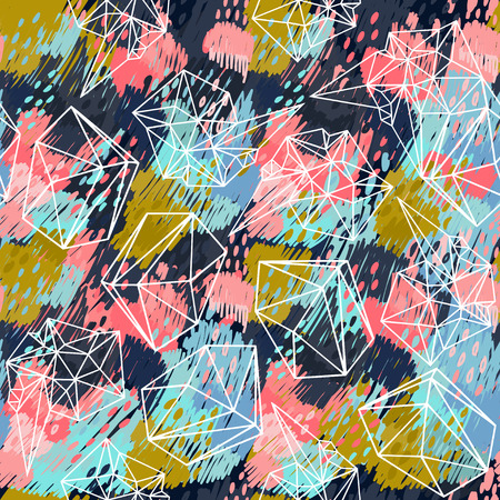discontinuous: Seamless abstract color pattern with dashed lines. Vector illustration