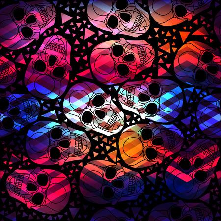 calavera: Cr�neo con poligonal patr�n abstracto ornament.Halloween.Seamless con zigzag ilustraci�n lines.Aurora skull.Vector.