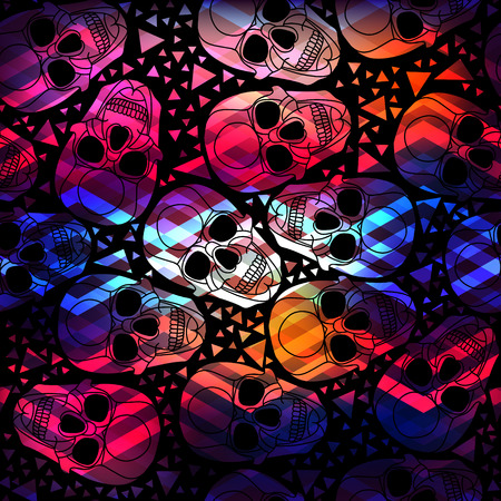 Skull with polygonal ornament.Halloween.Seamless abstract pattern with zigzag  lines.Aurora skull.Vector illustration. 向量圖像