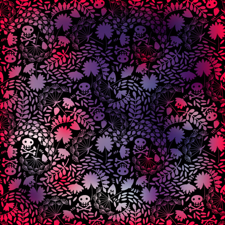 singular: Rainbow abstract background with doodle flowers and skull.