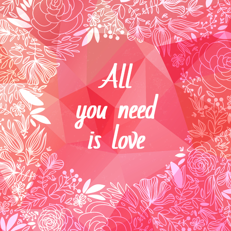 gradient mesh: Pink origami  background. Vector Illustration.Love symbol.Low-poly colorful style. Happy Mother day.Beautiful Valentines day love card. All you need is love.Pink Flowers Border, With Gradient Mesh.
