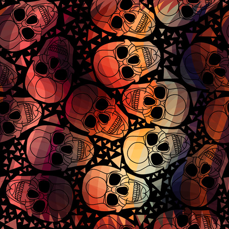 erection: Skull with polygonal ornament.Halloween.Seamless abstract pattern with zigzag  lines.Aurora skull.Vector illustration. Illustration