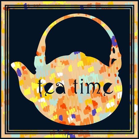 all saint day: Tea  background with writing Tea Time on the top.Suitable for ads, signboards, menu and web banner designs Illustration
