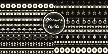 Vector set of garlands - eps 10.Beautiful retro luxury light lamp decor glowing. Beads Illustration