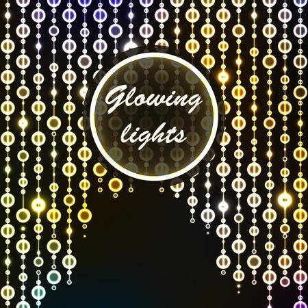 Beautiful retro luxury light lamp decor glowing. Iridescent beads