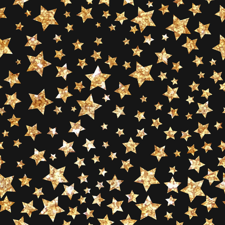 glittery: Simple star seamless pattern. Modern gold foil design. Hand Painted gold stars on black background. Cute pattern for cover design, greeting card, packaging papers.