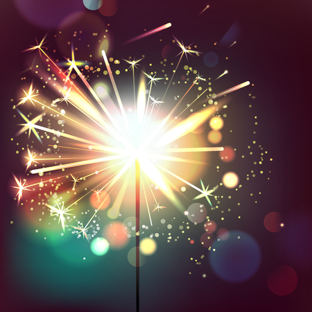 Glowing,Sparkling and Blistering Sparkler on Dark Brown Background.