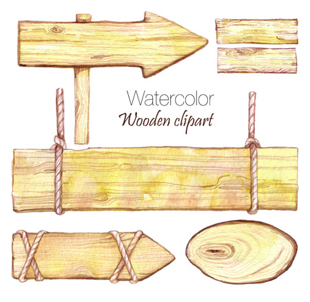 Hand painted collection of 5 watercolor wood slices clipart. Wood pointer, board. Wooden sign boards and arrows set. Can be used for frames, invitations, lettering, wedding, greeting cards and more