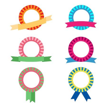 colored ribbon rosettes Vector illustration.