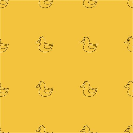 Cute yellow rubber duck with eye, orange beak, tale, wing, without paws, topknot, crest. Vector seamless pattern. Customized fun background. For cards, baby shower, celebration, paper, book cover, fabric, wallpaper.