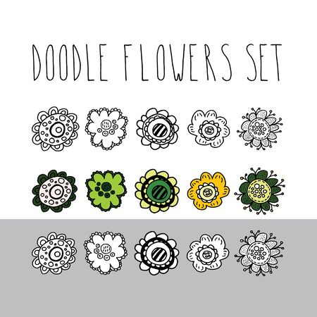 Vector design elements. Set of 15 doodle flowers. For covers, printing on fabric, cards, invitations