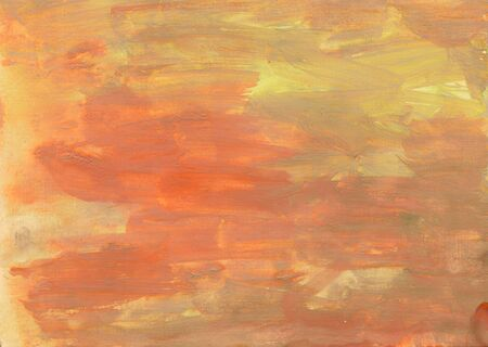 Orange paint background with paper texture. Customized template for cards, banner, logo, presentation. Abstract hand drawn background for your design with brushstroke textures.