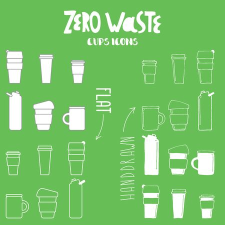 Vector set of zero waste cups for take away drinks. Coffee tea to go reuseable cups icons. Hand drawn and flat icons.  Banco de Imagens