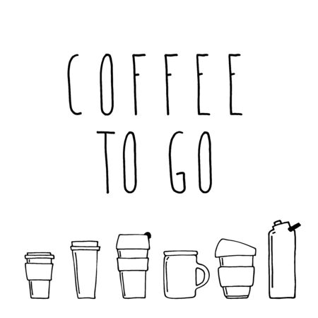 Phrase coffee to go, drinks to go, coffee to go here in frame. Frame with many tea, coffee, drinks cups or water bottles icons. Good for banner in a coffee shop, social media post, stickers and postcards.  Фото со стока