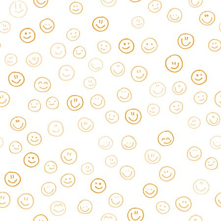 Smile icon. Many smiles. Vector seamless pattern. Customized color. For printing on fabric, postcards, social media post, advertising. Happy emotion, happy face, smiling face. Fun doodle background.