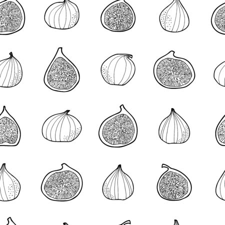 Many figs isolated on white background. Vector seamless pattern. Hand drawn. For food package, wrapping paper, social media posts, printing on fabrics, banners, book recipies cover, menu design. Иллюстрация