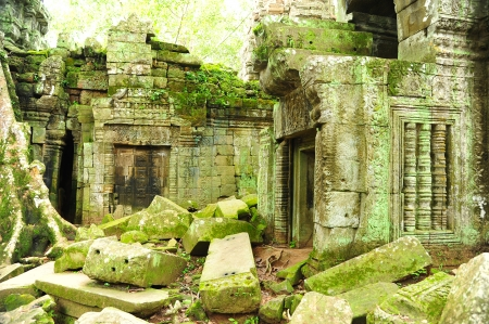 Ruin of Temple in Angkor Thom in the Jungle of Cambodia