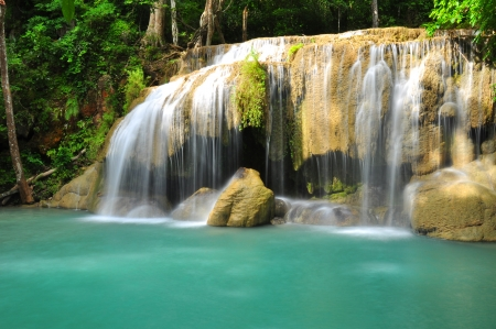 Deep Forest Green Waterfall photo