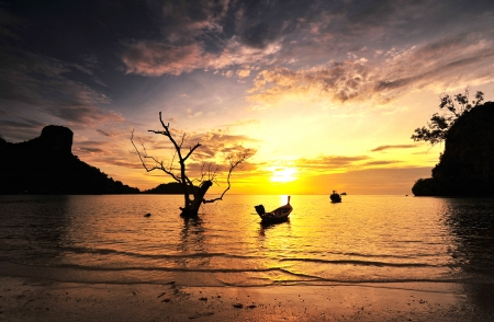 Sunrise Background on Beach at the Island of Southern Thailand photo