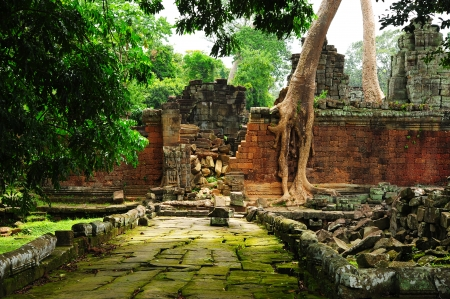 Wall of Temple in Angkor Thom, Cambodia Stock Photo