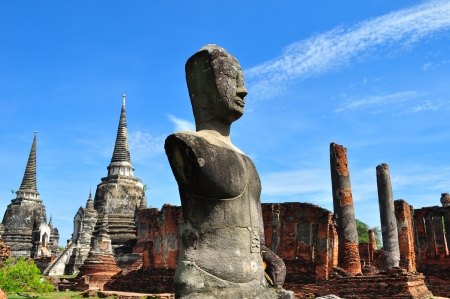 Ancient Stone Buddha Statue in Ayutthaya Province, Thailand photo