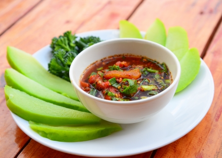 Vegetables and Chili Sauce Stock Photo - 23300995
