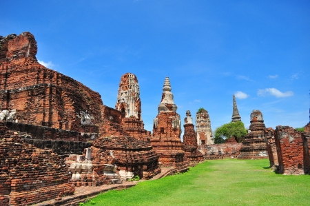 Ancient Ruin Temple in Ayutthaya Province, Thailand photo
