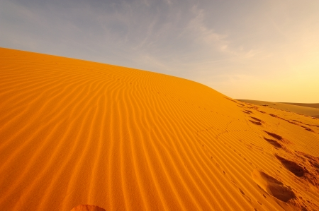 oasis at sunrise: Sand Pattern Textured on Sand Dune at the Deserts Stock Photo