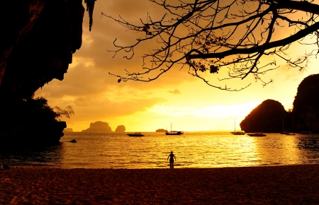 Sunset on the Beach of Island in Southern Thailand photo