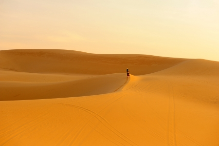Sand Dunes in Deserts Landscape Background Stock Photo - 23384950