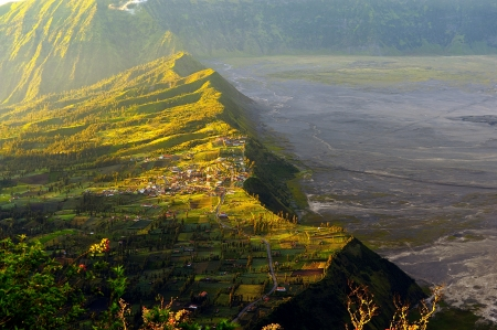 Cemoro Lawang Village on the Cliff, Indonesia Stock Photo