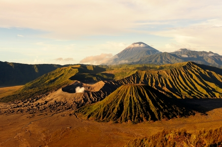 Landscape of Mount Bromo Volcano, Indonesia Stock Photo