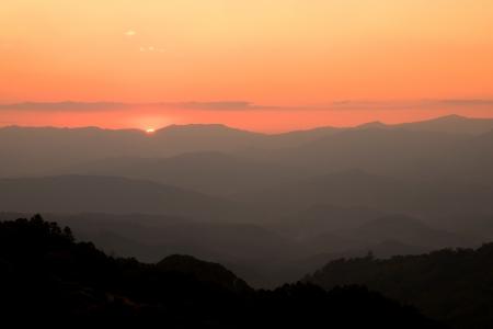 Mountain Range Landscape at Sunset photo